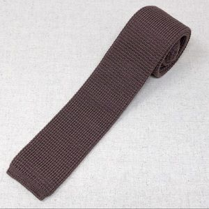 Vintage Skinny Cotton Knit Tie Brown Square Bottom